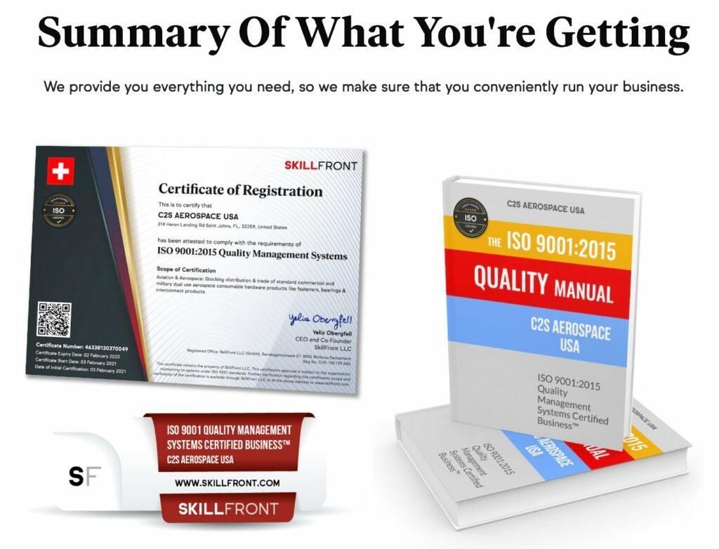 SkillFront ISO 9001 Certification